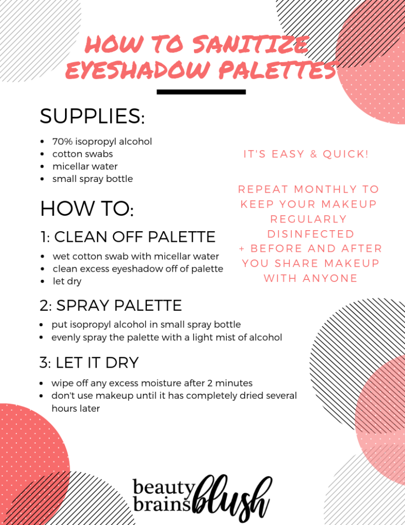 Free Ultimate Makeup Sanitization Guide! How to sanitize eyeshadow palettes easily on beautybrainsblush.com