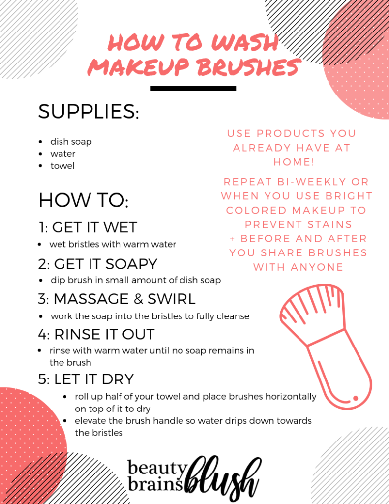 Free Ultimate Makeup Sanitization Guide! How to wash makeup brushes with dish soap on beautybrainsblush.com