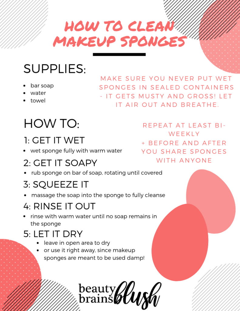 Free Ultimate Makeup Sanitization Guide! How to wash makeup sponges on beautybrainsblush.com
