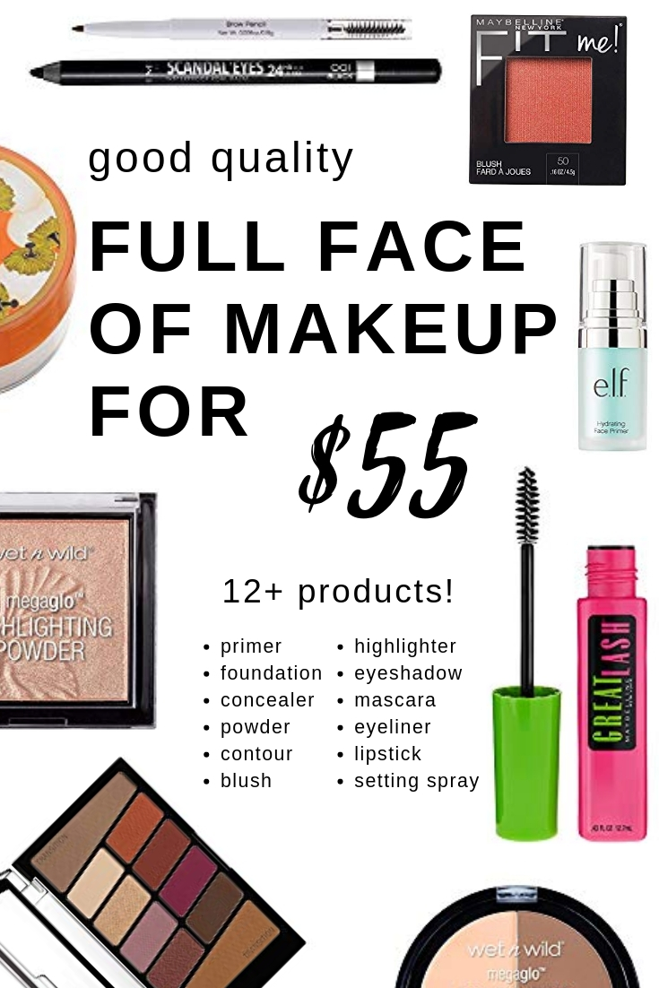 Good Quality Full face of drugstore makeup - for only $55! This includes everything you need and would be an AWESOME makeup starter set for beginners or teens.